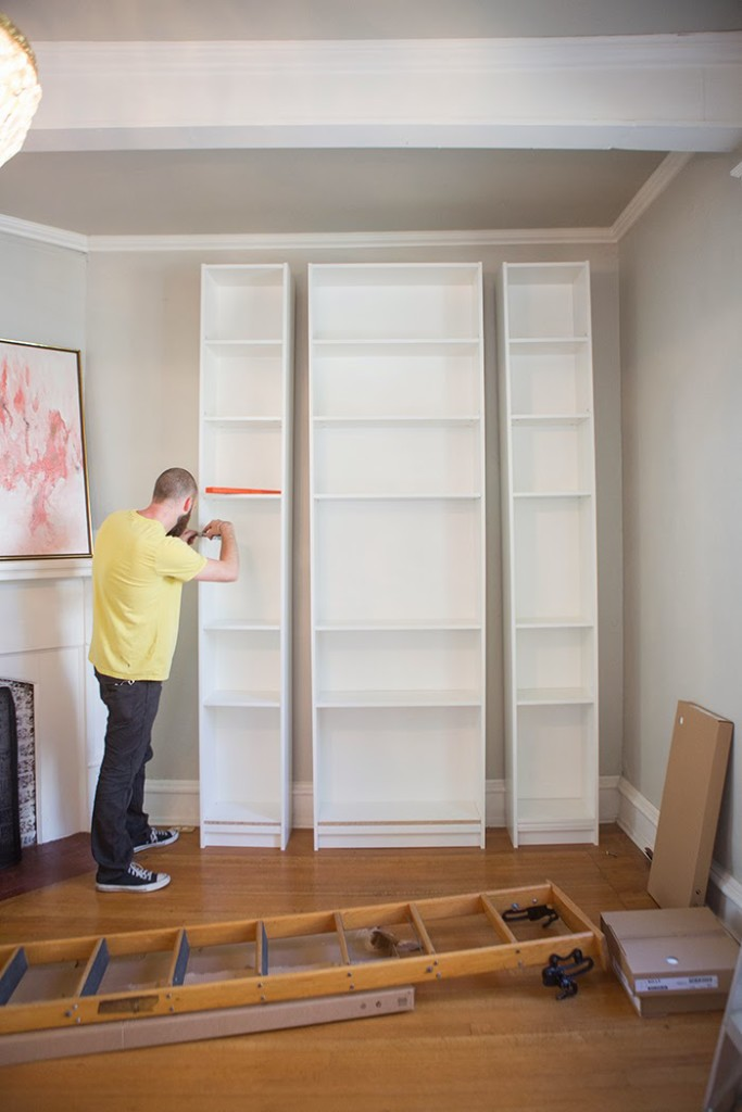 We Began By Embling The Three Ikea Bookshelves 2 Of These And 1 To Make Them Taller Than Standard Added Extension Cabinets Here