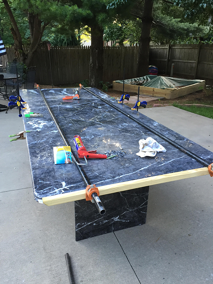 First, Micah And His Dad Fit The Pieces Back Together And Glued Them To The  Plywood Base. Then Micah Epoxied All Of The Cracks And Sanded The Table  Down ...