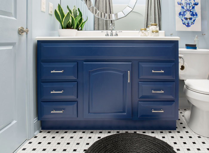 Bathroom Makeover Vanity a blogger vs. builder grade bathroom makeover - the makerista