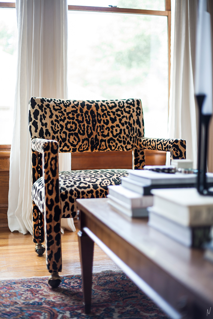 The-Makerista-Living-Room-Wood-Room-Paneled-Walls-Windows-Linen-Drapes-Jamil-Leopard-Parsons-Chairs-Karastan-Coffee-Table-IMG_7397