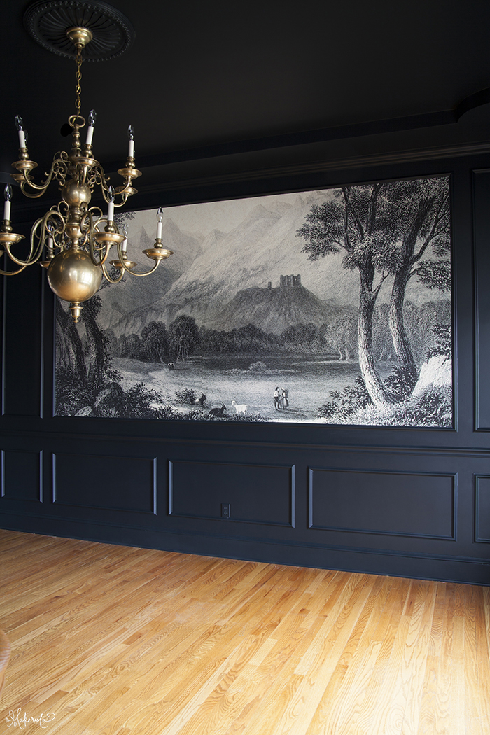 The Makerista-Dining Room-Walls Republic-Mural-Black Blue-Farrow and Ball-Chandelier-Williamsburg