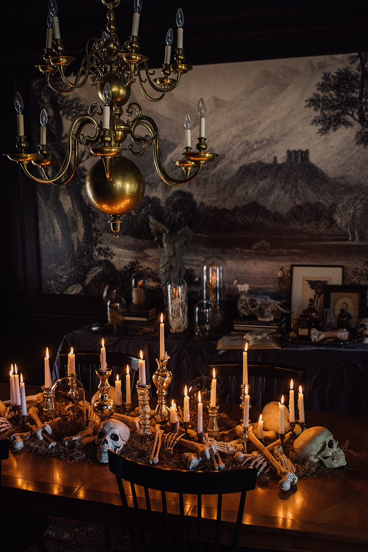 Creepy chic halloween decor the makerista i was inspired by the idea of a somewhat glamorous witch using this room to store her ingredients and create her potions i covered the buffet in this linen mozeypictures Gallery